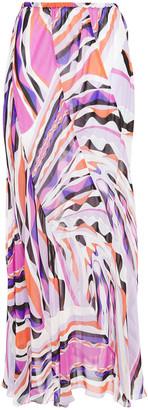 Emilio Pucci Printed Metallic Georgette Maxi Skirt