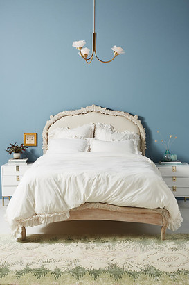 Anthropologie Washed Percale Adina Duvet Cover By in White Size FULL