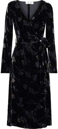 Diane von Furstenberg Tilla Floral-print Velvet Wrap Dress