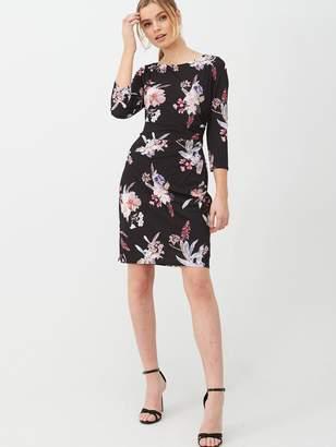 Wallis Magnolia Floral Ruched Side Dress - Black