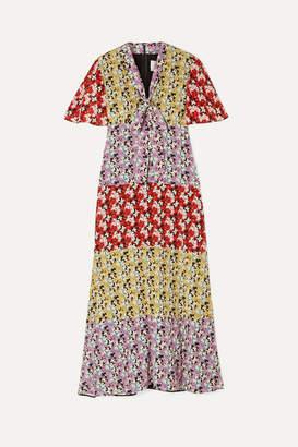 Valentino Floral-print Silk Crepe De Chine Midi Dress - Red