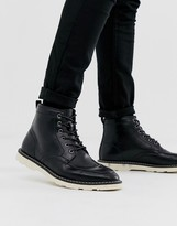 Asos Design DESIGN lace up boots in black faux leather with white sole
