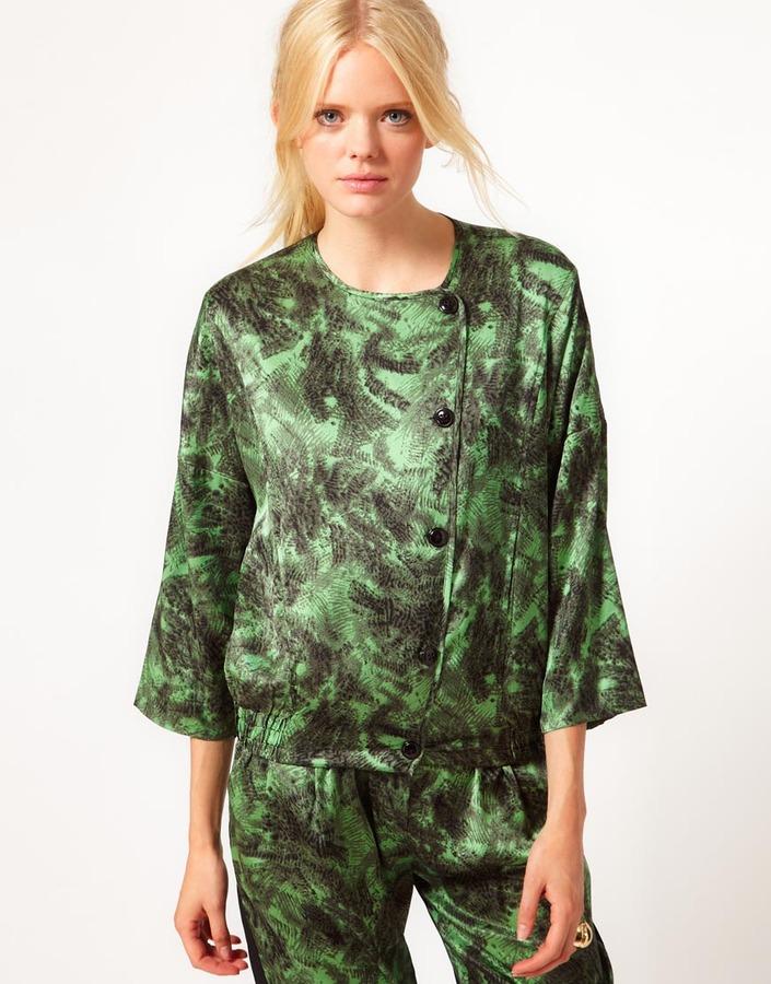 Baum und Pferdgarten Printed Bomber Jacket in Silk Jersey