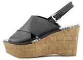 Marc Fisher Womens Sesame Leather Peep Toe Casual Platform Sandals.