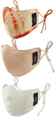 Gisy Set Of 3 Pure Silk Satin Face Mask/ Orange Rose White