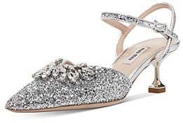 Miu Miu Women's Crystal Embellished Glitter Kitten Heel Pumps
