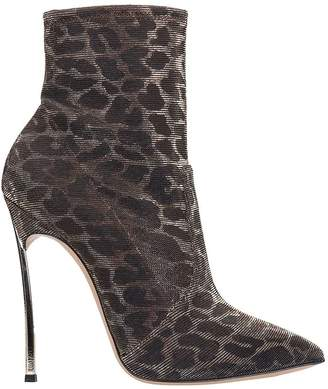 Casadei Blade Leo Metal High Heels Ankle Boots In Animalier Tech/synthetic