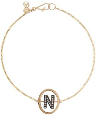 N. 18kt yellow gold diamond initial bracelet