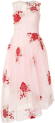 Simone Rocha Rose-Embroidered Corset Dress