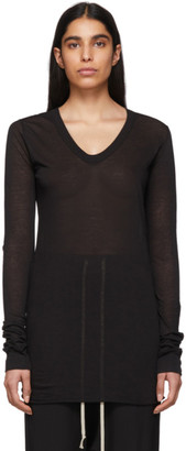 Rick Owens Black V-Neck Long Sleeve T-Shirt