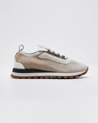 Brunello Cucinelli Knit Lurex Runner Monili Sneakers