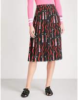 Valentino Lipstick-print silk midi skirt