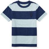 Ralph Lauren Striped Cotton Jersey Tee, Naples Blue, Size 5-7