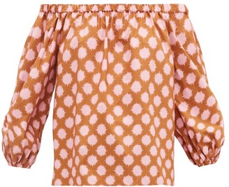 La DoubleJ Paloma Off-the-shoulder Pom Pom-print Cotton Top - Pink Print