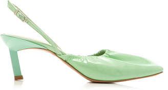 Ganni Ruched Leather Pumps