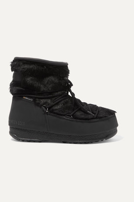 Moon Boot Monaco Rubber And Faux Fur Snow Boots - Black