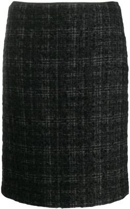 Prada Pre Owned 2000's Plaid Knitted Skirt