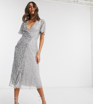 Maya Tall delicate sequin wrap front midi dress in silver