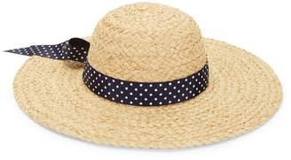 Bindya Lulla Collection By Polka Dot Band Raffia Straw Sun Hat