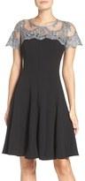 Chetta B Lace Yoke Fit & Flare Dress