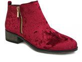 Bamboo Burgundy Velvet Saber Ankle Boot