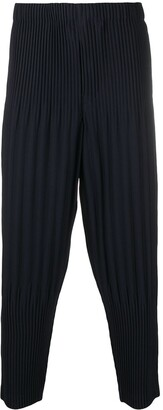 Homme Plissé Issey Miyake Cropped Pleat Detailing Trousers