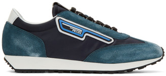 Prada Blue and Navy Suede Sneakers