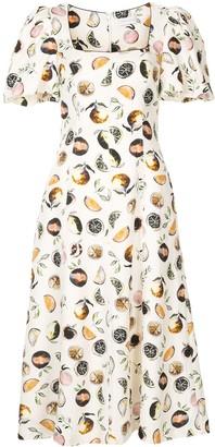 Rebecca Vallance Frutta square-neck midi dress