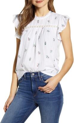 Lucky Brand Floral Print Flutter Sleeve Top