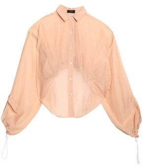 Joseph Cropped Gathered Cotton And Silk-blend Blouse