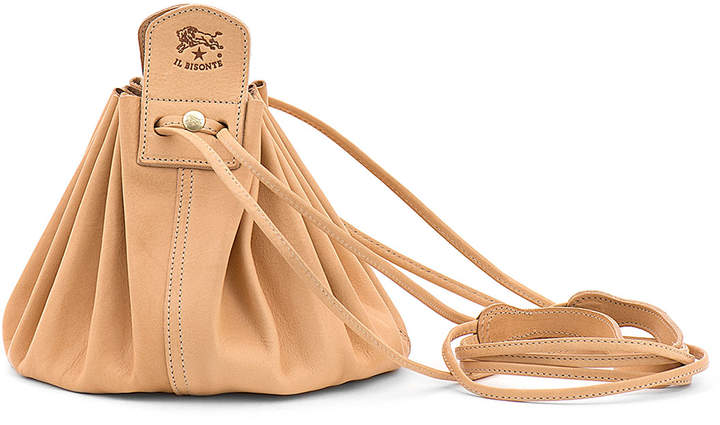 Il Bisonte Drawstring Leather Crossbody Pouch Bag, Beige