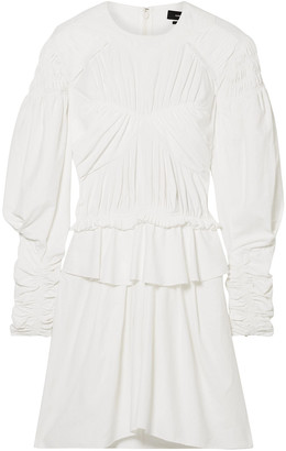 Isabel Marant Upon Ruched Poplin Peplum Mini Dress