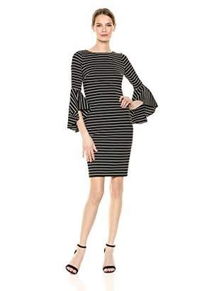 Calvin Klein Women's Three Quarter Bell Sleeve Sheath with V Back Dress