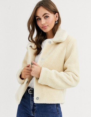 Pimkie teddy jacket with collar in ecru
