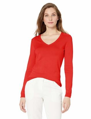 Lark & Ro Amazon Brand Women's Long Sleeve V Neck Pima Cotton Sweater