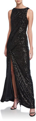 Rachel Gilbert Sequined Ruched Column Gown