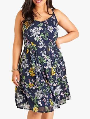 Yumi Curves Strappy Floral Dress, Navy