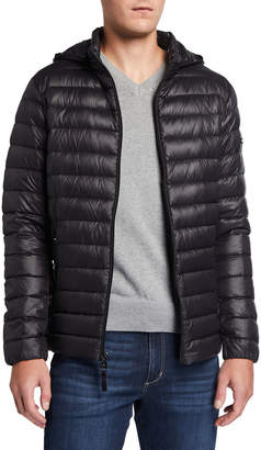 Iconic American Designer Men's Quilted Hooded Packable Puffer Jacket