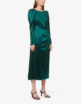 Reformation Cameron puff-shoulder silk midi dress