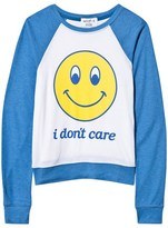 Wildfox Couture Blue and White Smiley Raglan Tee