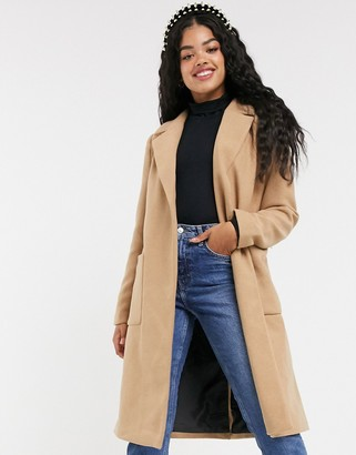 Pimkie tie waist wool coat in camel