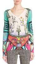 Etro Printed Silk & Cashmere V-Neck Top