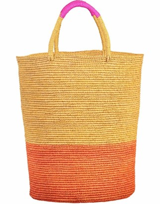 Sensi Beige and Orange Tall Triple Tone Beach Basket