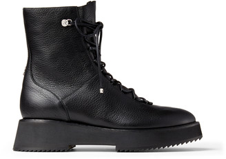 Jimmy Choo HAYSLEY FLAT Black Grained Leather Biker Boots with Chunky Sasi Sole