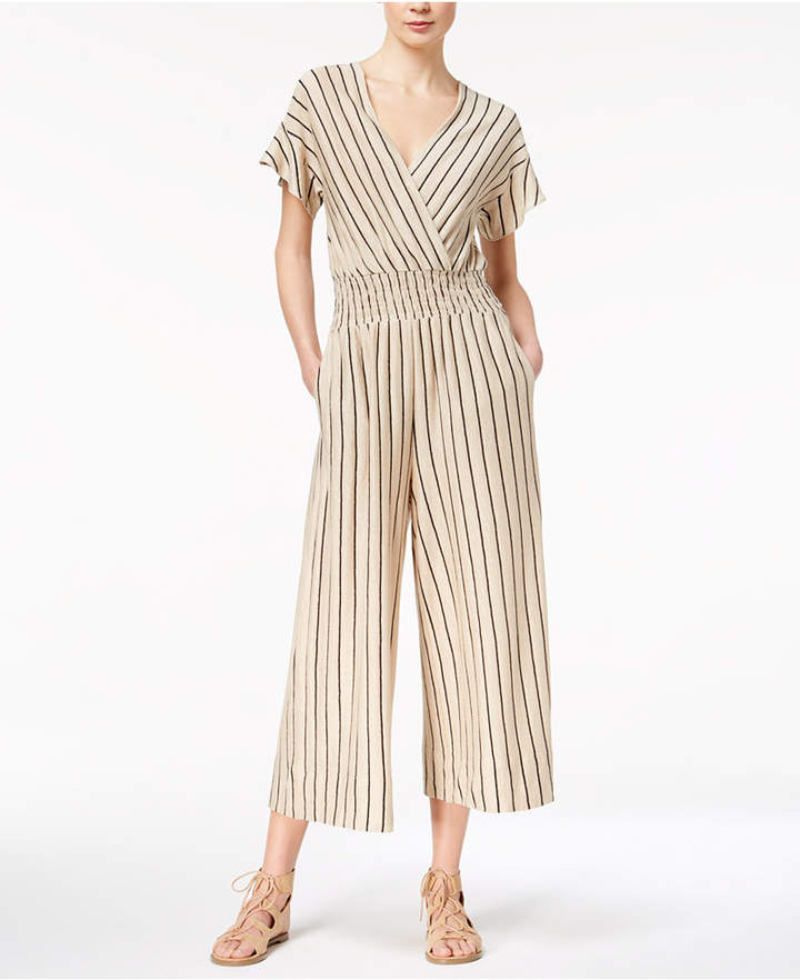 Marella Linen Smocked Wide-Leg Surplice Jumpsuit