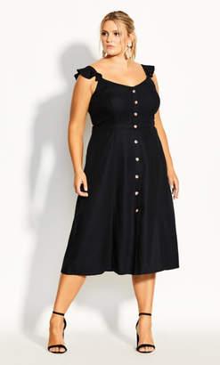 City Chic Button Cheer Dress - black