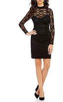 Jessica Simpson Lace Mockneck Long Illusion Sleeve Sheath Dress