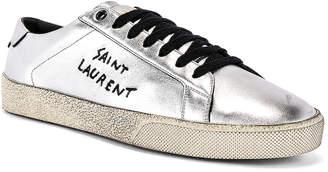 Saint Laurent Court Classic Script Sneaker in Silver & Black | FWRD