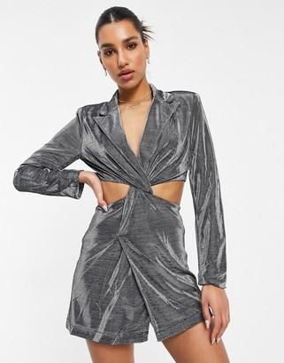 4th + Reckless blazer dress with cutout knot detail waist in metallic silver