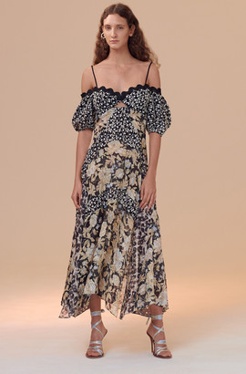 Rebecca Taylor Mixed Print Off-Shoulder Dress